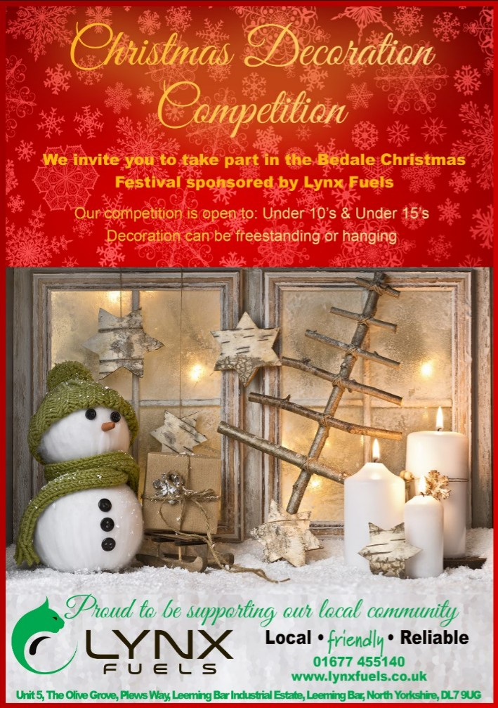 We are delighted to be sponsoring the Bedale Christmas Festivals Christmas Decoration competition!